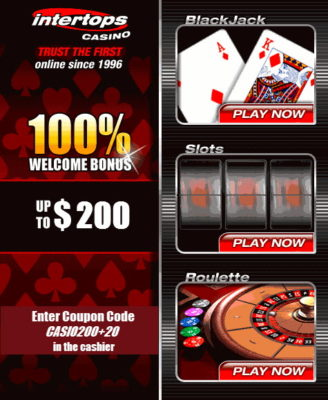 intertops 20 free spins plus $200 match bonus